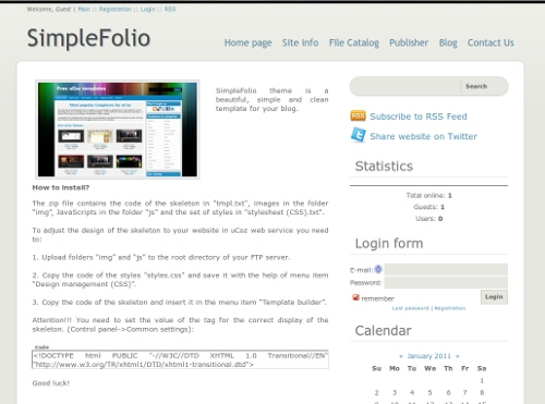 SimpleFolio from ucoz templates