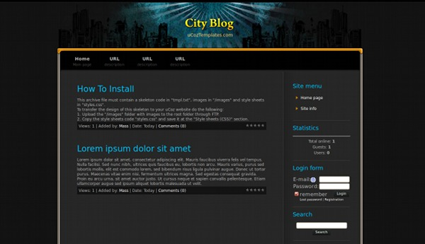 City Blog from ucoz templates