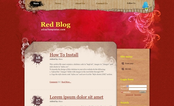 Red Blog from ucoz templates