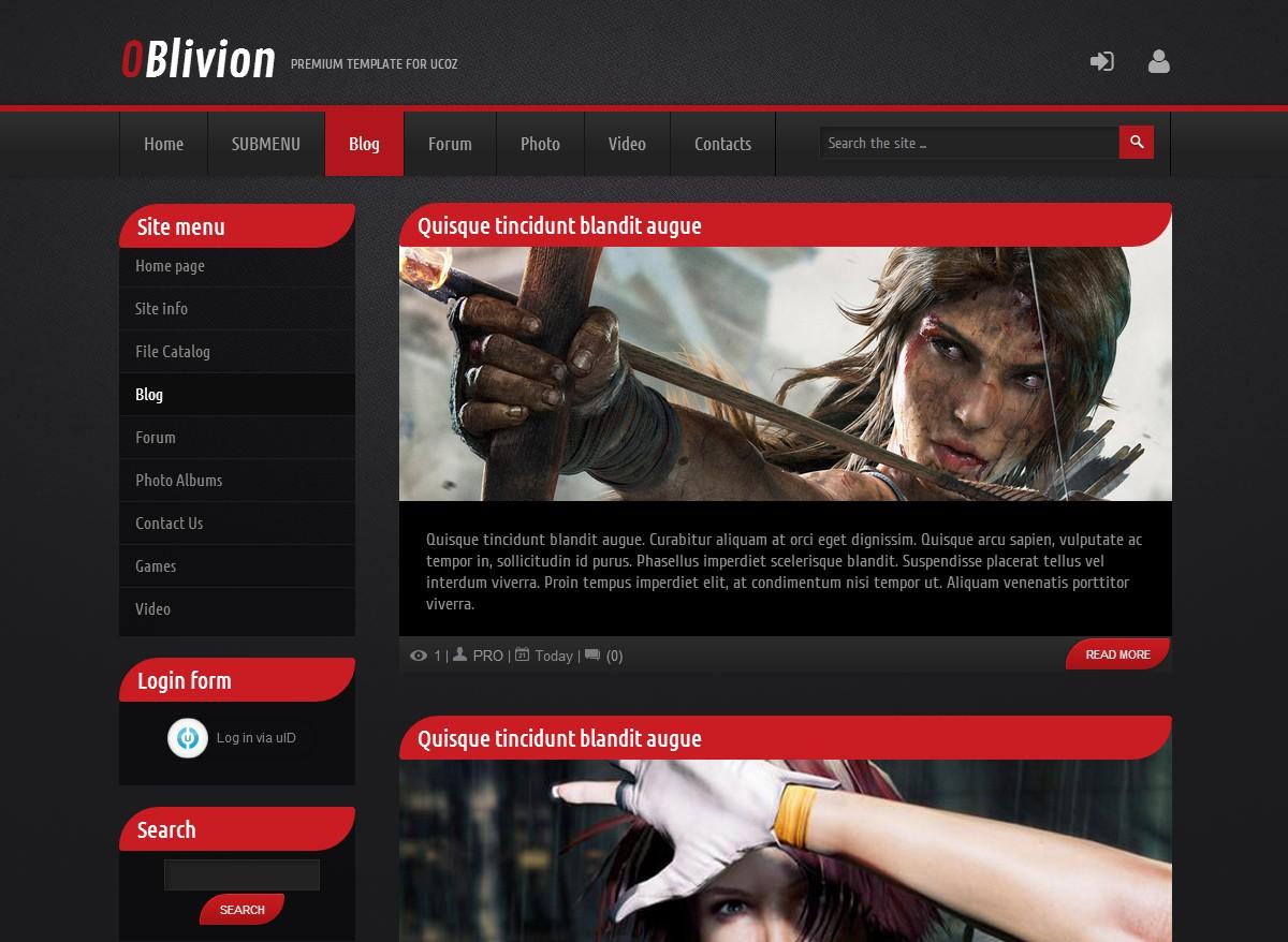 Oblivion - Professional uCoz templates